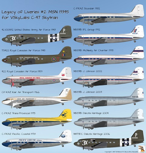 Legacy of Liveries Upon MSN 19345 for VSkyLabs DC-3