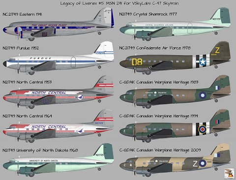 Legacy of Liveries Upon MSN 2141 for VSkyLabs DC-3